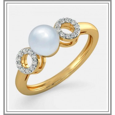 White Pearl Diamond Ring In 18Kt Gold