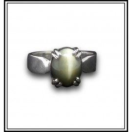 Astrological Cats Eye Silver Ring
