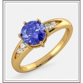 Diamond Sapphire Ring In 18Kt Gold