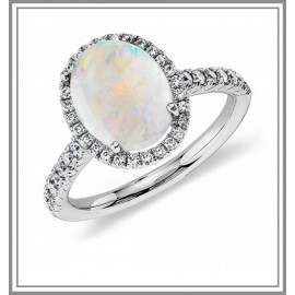 Opal and Diamond Halo Ring in 18k White Gold